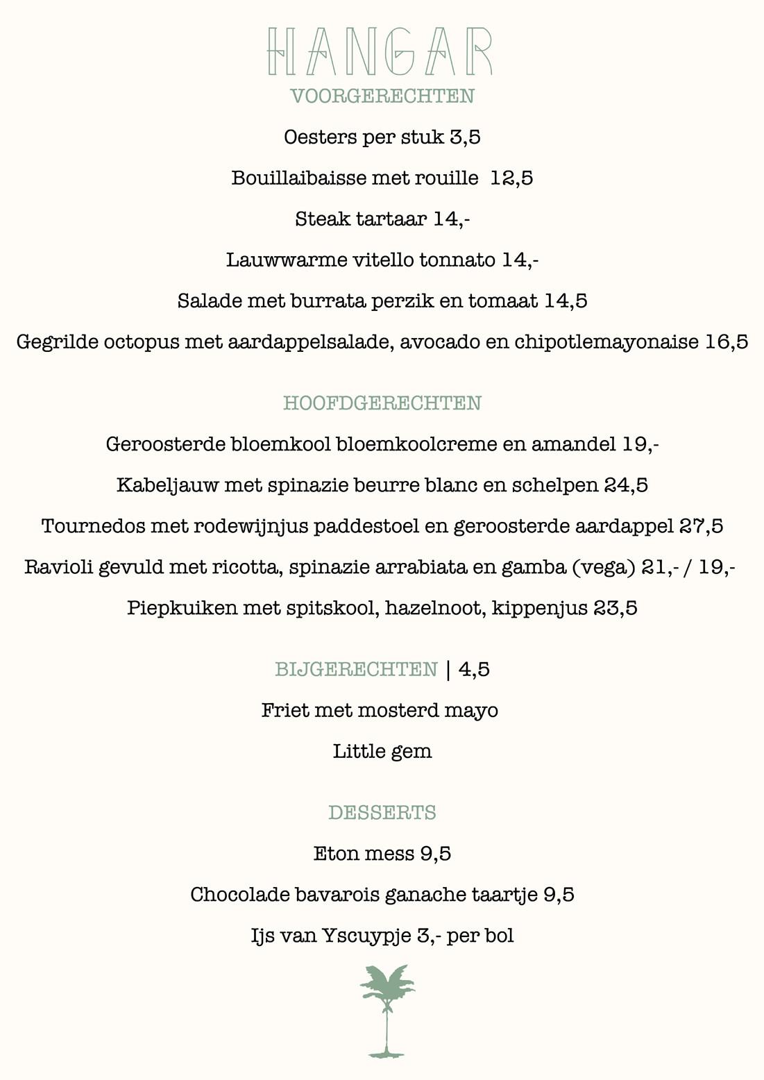 Hangar diner menu
